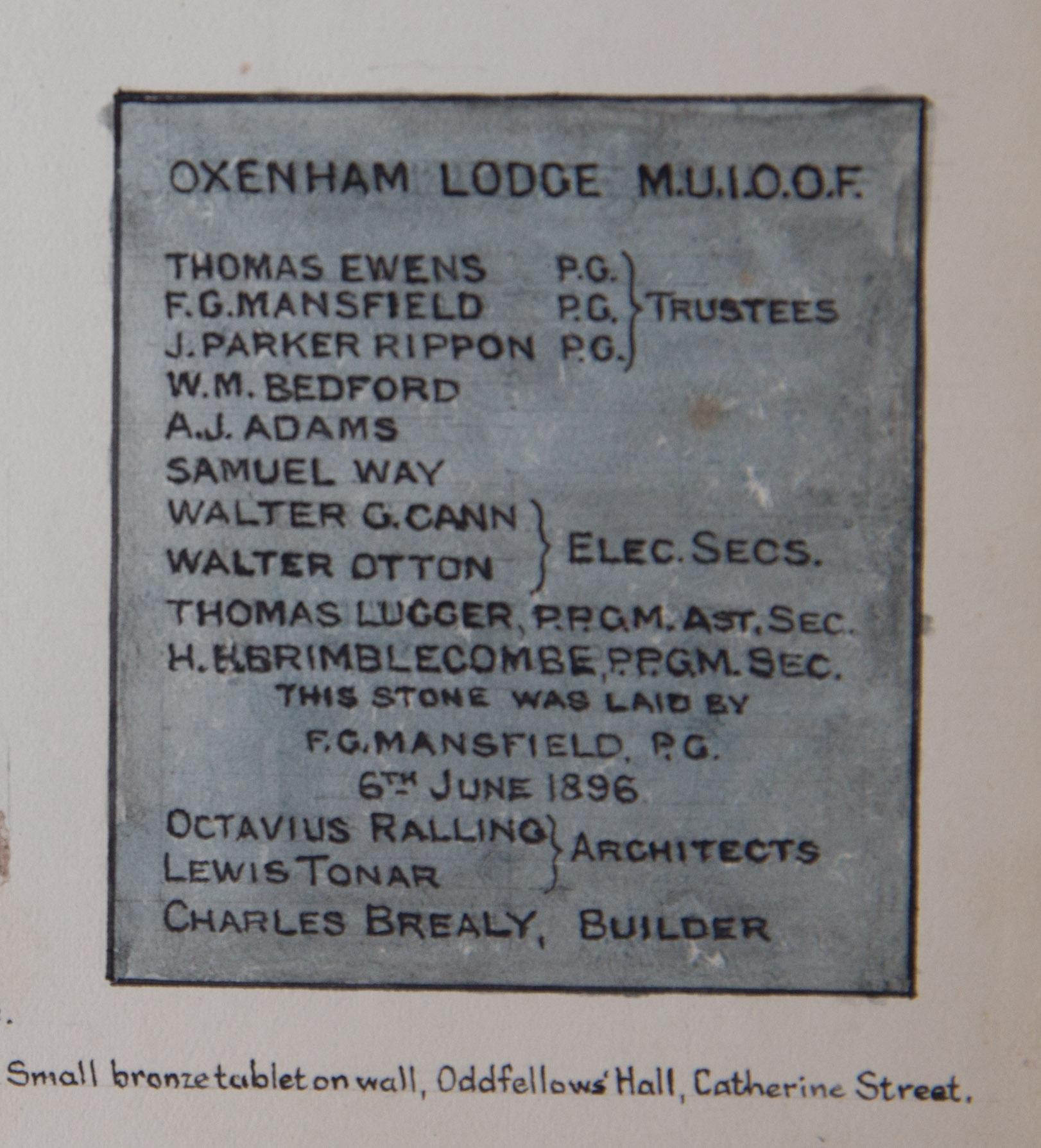 Oxenham Lodge Plaque