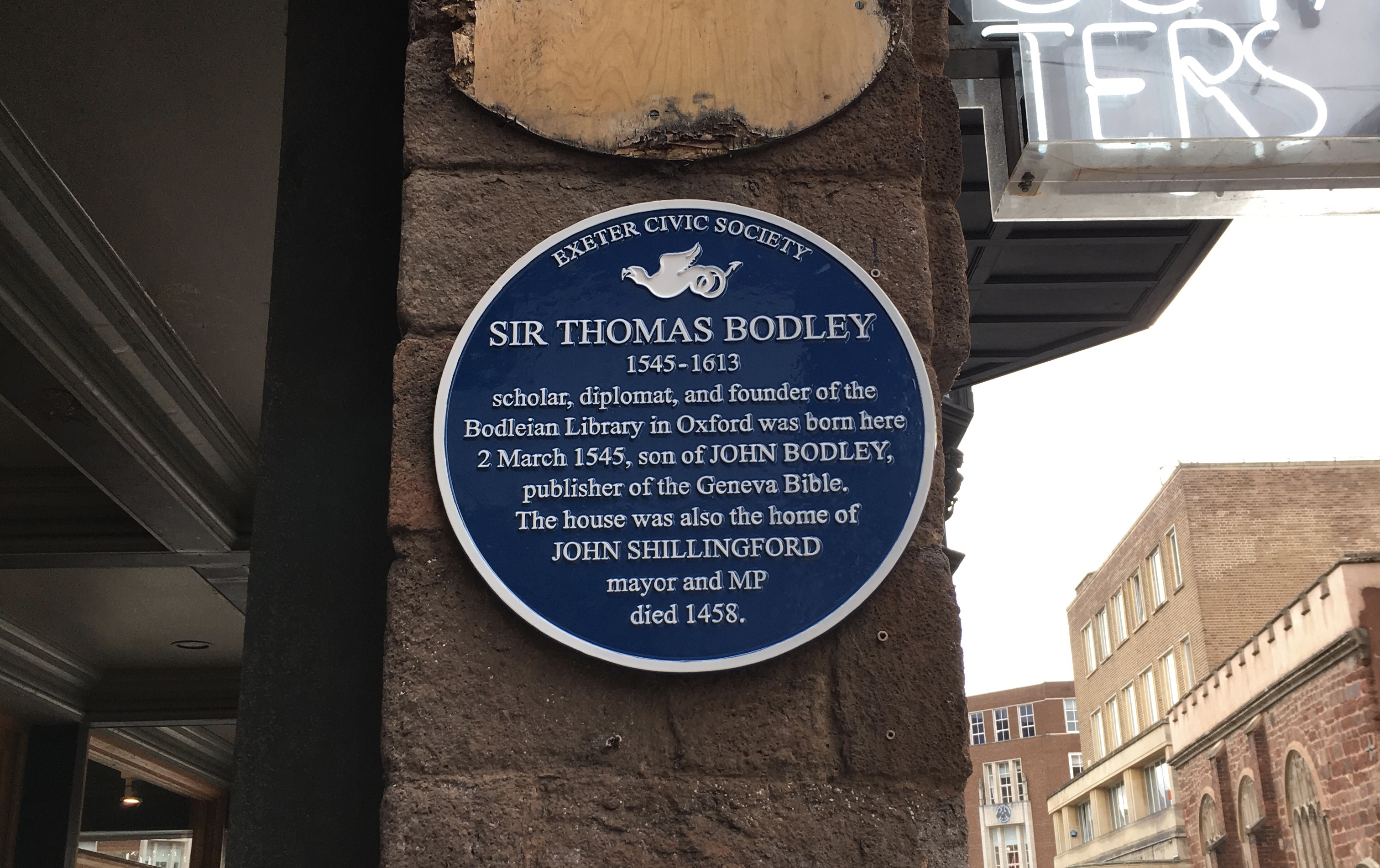 Sir Thomas Bodley | Corner of Gandy Street & High Street